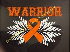 Orange Awareness Ribbon Warrior Window Decal Kidney by directvinyl