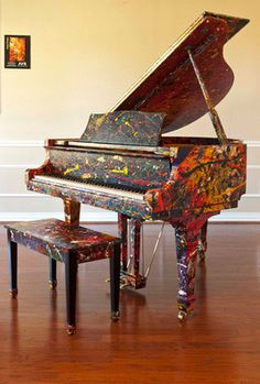 """I love my Young Chang. I think doing this would feel amazing - to paint my instrument! (""""Live Energy"""" Created on a 150 G Young Chang Baby Grand Piano By Melissa Ayrck out her you tube video creation. Piano Art, Piano Room, Painted Pianos, Baby Grand Pianos, Upcycled Furniture, Light In The Dark, Music Instruments, Cool Stuff, Painting"""