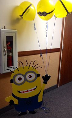 Life-size minion cutout! Minion balloons. Despicable Me party!