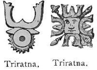 Ancient Buddhist symbols from India.  Two versions of Triratna or Buddhist Trinity.