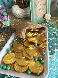 Chocolate coins in mermaid candy bar More
