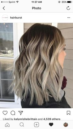 Dark brown balayage with cool blonde ends. best brown balayage hair designs for medium length hair, medium hairstyle color Cabelo Ombre Hair, Baliage Hair, Baylage Short Hair, Baylage Ombre, Ombre Hair Long Bob, Ombre Hair Color, Hair Colors, Blonde Color, Ash Ombre Hair