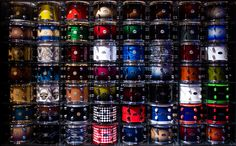 The DW Drums 'booth' at NAMM includes two walls like this showing of a variety of finishes for their kits.
