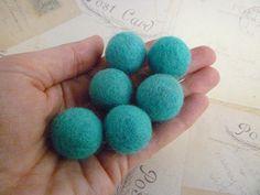 Felt Balls x 20 - Aqua - 2cm. $6.00, via Etsy.