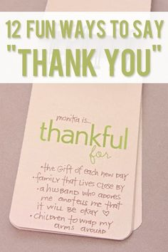 """DIY and Crafts.  12 Fun Ways to say """"Thank You""""!  Great ways to get the whole family involved this Thanksgiving."""