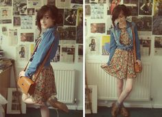 Denim Shirt From Primark, Floral Dress From Topshop, Bag From Primark, Brogues From Primark