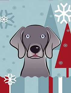 Caroline's Treasures BB1727CHF Winter Holiday Weimaraner Canvas House Size Flag, Multicolor, Large ^^ New and awesome product awaits you, Read it now  : Garden Christmas Decorations