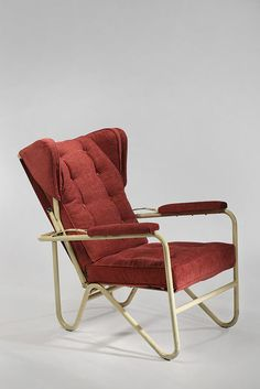 Pierre Guariche; Enameled Tubular Metal 'Prefacto' Lounge Chair for Airborne, 1951.