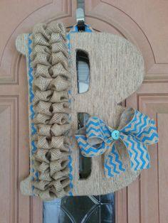 LARGE Monogram Door Hanger with Twine, Chevron, and Burlap