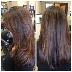Brunettes can have highlights too!! Loving the lighter caramel honey tones as…