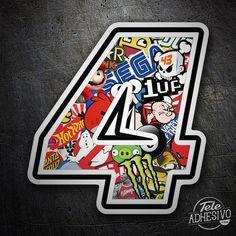 Pegatinas: Número 4 Speed Stickerbomb #pegatinas #numero #adhesivo #decoracion #moto #coche #TeleAdhesivo