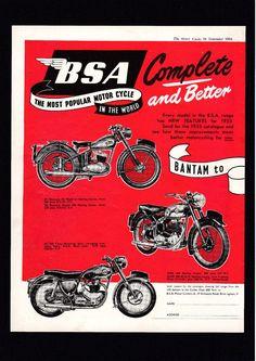 1955 MODEL BSA BANTAM D1,D3,C10L,C11G,A7,B31,B33,M20,M21,A10 MOTORCYCLE.MAG AD