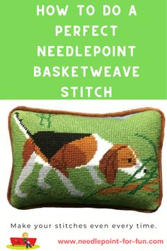Needlepoint Stitches, Needlepoint Patterns, Needlepoint Canvases, Cross Stitch Patterns, Needlework, Puppy Crafts, Machine Embroidery Projects, Stitch Lines, Beaded Crafts