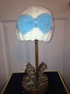 Knit Baby Hat stripe and bow perfect for a by CrazyCuteByAngela, $11.00