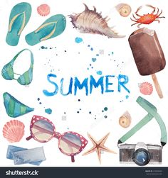 Watercolor summer vacation frame. Hand drawn round card background with tourism objects: sunglasses, photo camera, sea shells, flip flop shoes, swimwear, ice cream, crab and lettering