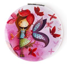 Miroir de poche Ketto - FIlle papillon / Ketto's pocket mirror - Butterfly girl  www.kettodesign.com