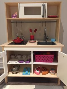 Kids ikea kitchen, Pottery BArn Creuset accessories, toy dyson
