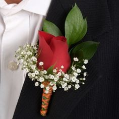 red boutonniere for groom, red with babys breath like bridemaids bouquets for groomsman (if I do BB in BM bouquet)