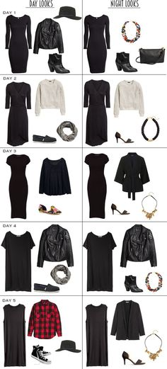 5 Black Dresses transitioned from Day looks to Night looks for fall and winter. #outfitideas