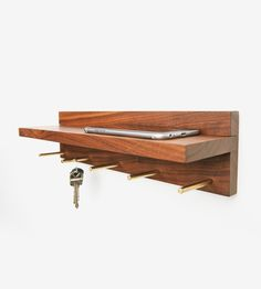 Walnut Wood Floating Shelf & Key Rack by Nolan Co. on Scoutmob