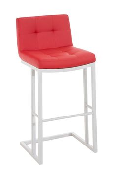 CLP Metal Bar Stool CARLTON with Faux Leather Seat, choose between 11 different colours red: Amazon.co.uk: Kitchen & Home