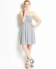 Jersey Shirred Strapless Dress