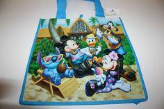 New Disney Aulani Reusable Tote Shopping Bag Hawaii Mickey Mouse & Gang Stitch