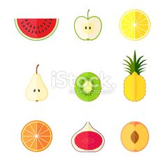 Flat fruits icons. Vector illustration Royalty Free Stock Vector Art Illustration