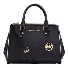 Buy The Lowest Price Michael Kors Sutton Saffiano Leather Medium Black Satchels In Our Online Store ! #MichaelKors