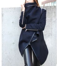 2014 NEW Women Woollen Winter Warm Zipper PU Edge Trench Coat Jacket Outwear | eBay