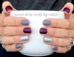 Berlin To Win It, Aberdeen Aubergine, Tinseltown, and liquid matte top coat Fancy Nails, Cute Nails, Pretty Nails, Nail Color Combos, Nail Colors, Nagellack Design, Dipped Nails, Nagel Gel, Color Street Nails