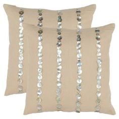 "Set of two cotton-linen pillows with iridescent button accents.   Product: Set of 2 pillowsConstruction Material: Linen and cottonColor: AlmondFeatures: Button accentsInserts includedDimensions: 18"" x 18"" eachCleaning and Care: Dry cleaning recommended"