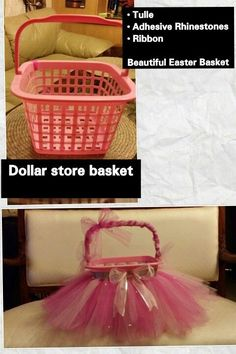 DIY Easter Basket or gift basket for a girl - Purchase a basket from the Dollar Store for 1.00, buy some Tulle from your local craft/fabric store add ribbon and rhinestones. Beautiful homemade Easter Basket!