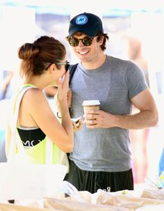 Ian Somerhalder Keeps His Arm Around Nikki Reed at the Farmer's Market! on Sunday afternoon (July 20) in Los Angeles.