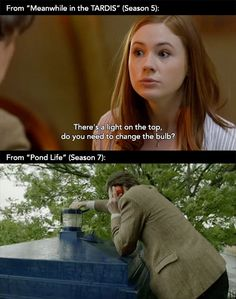 "And then River in Angels: ""Do you need to change the bulb on top?"" No River, he doesn't. Now get your mom and dad in the TARDIS. Rory, never stop to look at the grave. Never..."