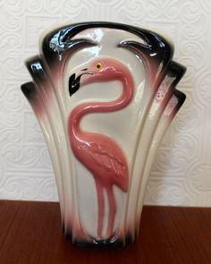 FLAMINGO~Vintage Art Deco Pink Flamingo Fan Vase Clay Art by DorasDaughters