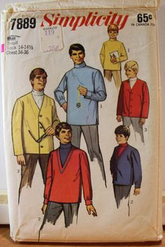 Simplicity 1968 Vintage 7889 sewing pattern for men's turtleneck shirt and cardigan jacket chest 34-36