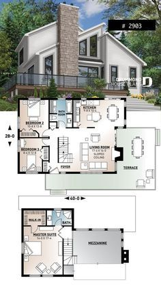 Modern panoramic chalet house plan with private second floor master suite, 2 bedroom on main, open concept European House Plans, Southern House Plans, Country House Plans, Modern House Plans, Craftsman Farmhouse, Craftsman House Plans, Beach House Plans, Cottage House Plans, Shed Floor