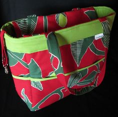 """Large Marimekko tote.  Weekender, diaper bag.  Authentic Marimekko fabric """"Irmeli"""" from Finland.  9 pockets to stay organized, swivel key clip... See more details on the website.  $74"""