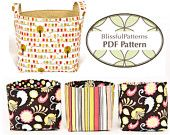 Easy to Sew Fabric Bin PDF SEWING PATTERN - two sizes - Instant Download- by BlissfulPatterns