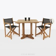 Teak square pedestal table & cannes directors chairs