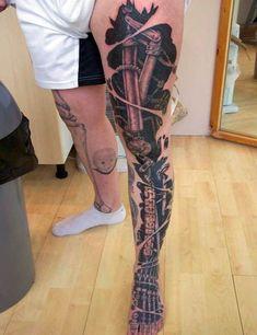 ... Tattoos Leg Tattoos Tattoo'S Tattoo Design Legs Bio Mechanical