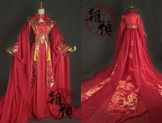 Oriental Fashion, Asian Fashion, Red Chinese Dress, Fantasy Gowns, Medieval Dress, Chinese Clothing, Japanese Outfits, Kawaii Clothes, Variables