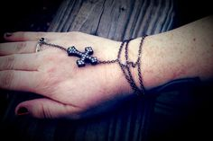 Gunmetal Cross Bracelet with Ring Attached by BadGirlForeverJewels, $9.99