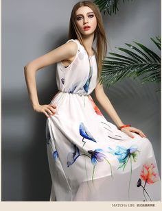 2016 summer dress women's clothing fashion o-neck sleeveless print full dress chiffon slim beach dress female free shipping product details size information note : the following information is for reference only . please contact the seller to get the detailed information .