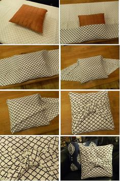 The Easiest Pillow Cover Ever... this would be a good way to cover my usual pillows for Christmas decorations or a party theme
