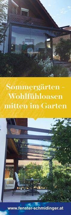 Sommergärten lassen sich hervorragend auf einer Terrasse im Garten integrieren. Dank der rahmenlosen Flügel, stören nicht zu viele Rahmenprofile die Optik! #Sommergarten #Sommergärten #Wohlfühloase #Garten #Terrassen #Balkon #Windschutz #Regenschutz #Wetterschutz #Glas