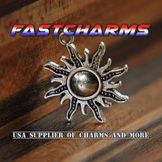 SUN CHARMS, 25x28mm, antique silver, fastcharms, jewelry making supplies, wholesale charms, fast shipping, earth charms (YB22O) by fastcharms on Etsy