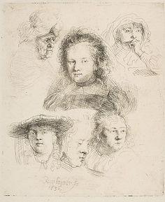 Studies of the Head of Saskia and Others Rembrandt (Rembrandt van Rijn)  (Dutch, Leiden 1606–1669 Amsterdam)