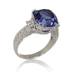 Rarities: Fine Jewelr 18K White Gold 7.63ct Tanzanite and Diamond Ring